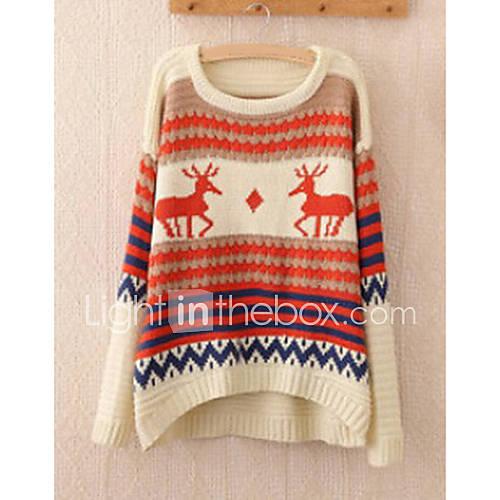 dames-uitgaan-vakantie-schattig-normaal-pullover-dierenprint-rood-beige-ronde-hals-lange-mouw-wol-winter-dik-micro-elastisch