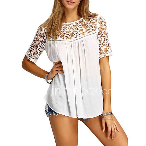 dames-eenvoudig-schattig-street-chic-zomer-overhemd-uitgaan-casual-dagelijks-effen-ronde-hals-halflange-mouw-blauw-wit-polyester