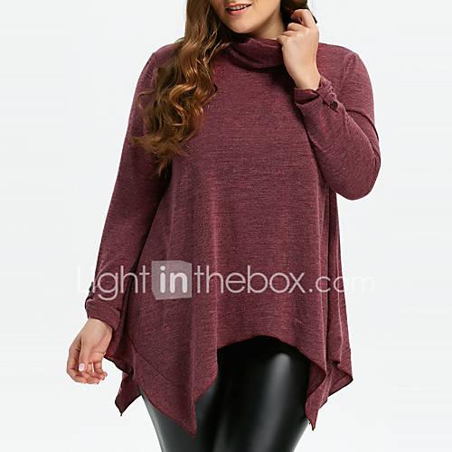 dames-uitgaan-casual-dagelijks-grote-maten-eenvoudig-street-chic-lang-pullover-effen-rood-coltrui-lange-mouw-polyester-lente-herfst-medium