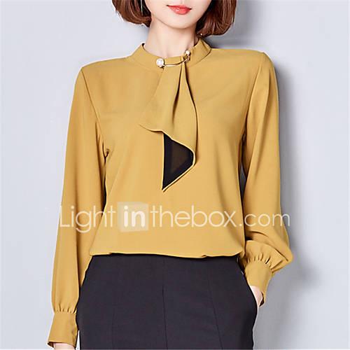 dames-schattig-street-chic-lente-herfst-blouse-uitgaan-casual-dagelijks-grote-maten-effen-opstaand-lange-mouw-wit-bruin-groen-geel