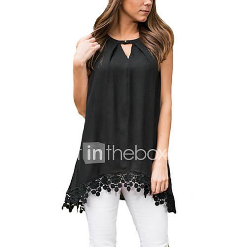 dames-eenvoudig-zomer-t-shirt-casual-dagelijks-effen-ronde-hals-mouwloos-zwart-rayon-polyester-dun