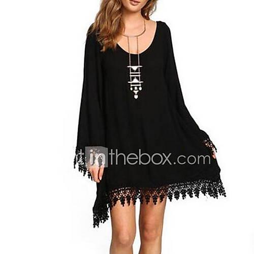 dames-grote-maten-eenvoudig-ruimvallend-jurk-effen-ronde-hals-boven-de-knie-lange-mouw-zwart-katoen-zomer-medium-taille-inelastisch-medium