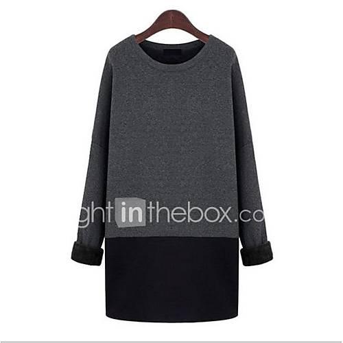 dames-uitgaan-vintage-a-lijn-ruimvallend-jurk-effen-ronde-hals-boven-de-knie-lange-mouw-grijs-katoen-herfst-medium-taille-micro-elastisch