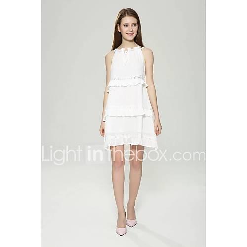 dames-uitgaan-casual-dagelijks-eenvoudig-street-chic-schede-jurk-effen-bandje-tot-de-knie-mouwloos-wit-imitatiebont-katoen-acryl-polyester