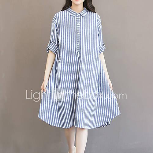 dames-uitgaan-casual-dagelijks-grote-maten-vintage-eenvoudig-schattig-ruimvallend-jurk-gestreept-overhemdkraag-asymmetrisch-lange-mouw