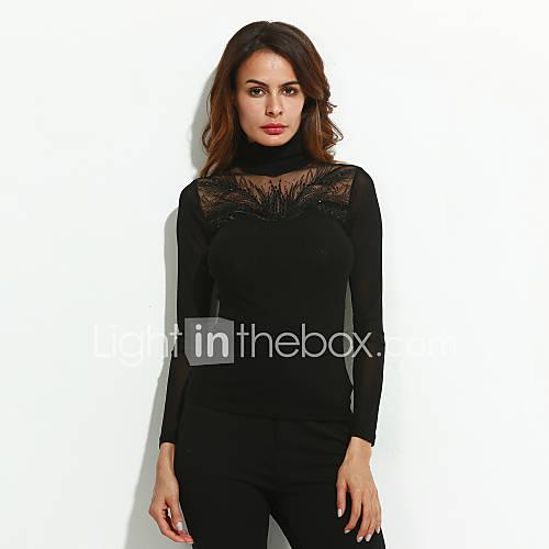 vrouwen-eenvoudig-street-chic-lente-herfst-blouse-uitgaan-casual-dagelijks-grote-maten-effen-coltrui-lange-mouw-zwart-polyester