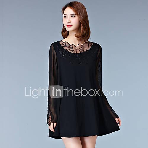 dames-casual-dagelijks-eenvoudig-ruimvallend-jurk-effen-ronde-hals-boven-de-knie-driekwart-mouw-zwart-grijs-polyester-lente-medium-taille
