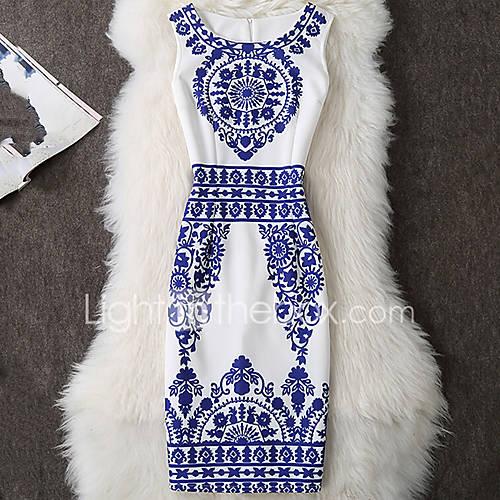 dames-casual-dagelijks-werk-uitgaan-sexy-eenvoudig-chinoiserie-bodycon-jurk-print-ronde-hals-tot-de-knie-mouwloos-blauw-overige-zomer