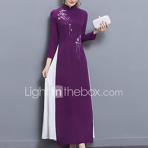 dames-uitgaan-casual-dagelijks-feestjecocktail-vintage-eenvoudig-chinoiserie-recht-jurk-effen-jacquard-opstaand-maxi-tot-de-knie-lange
