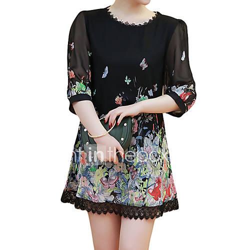 dames-casual-dagelijks-nette-schoenen-eenvoudig-ruimvallend-jurk-kleurenblok-ronde-hals-mini-boven-de-knie-driekwart-mouw-zwart-polyester