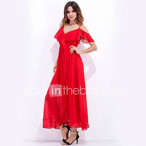 dames-uitgaan-strand-vakantie-sexy-eenvoudig-street-chic-ruimvallend-schede-wijd-uitlopend-jurk-effen-bandje-maxi-mouwloos-rood-polyester