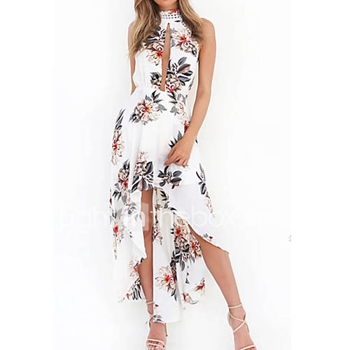 dames-casual-dagelijks-sexy-schattig-schede-jurk-print-halter-midi-mouwloos-wit-katoen-lente-zomer-medium-taille-micro-elastisch-medium