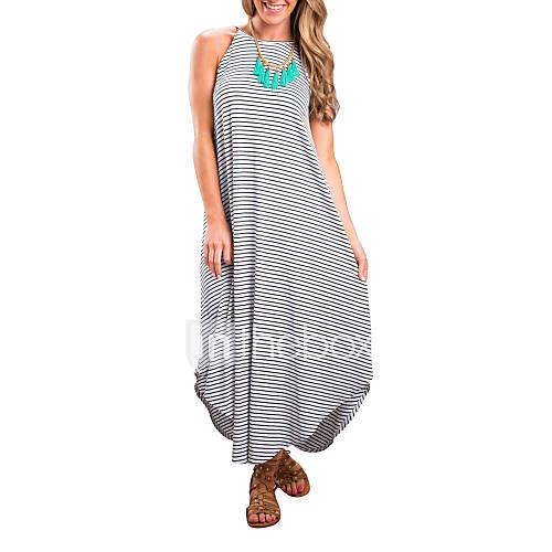 dames-uitgaan-casual-dagelijks-eenvoudig-street-chic-ruimvallend-jurk-gestreept-bandje-asymmetrisch-mouwloos-zwart-polyester-zomer-herfst