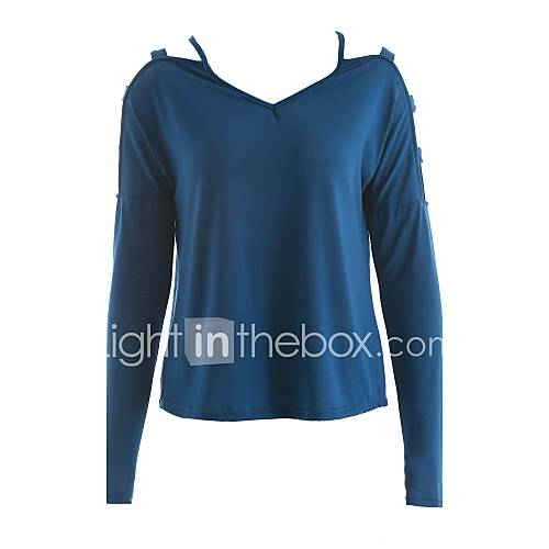 vrouwen-eenvoudig-alle-seizoenen-t-shirt-casual-dagelijks-effen-v-hals-lange-mouw-blauw-zwart-grijs-katoen-polyester-dun