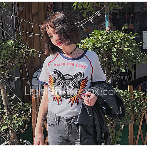 dames-schattig-zomer-t-shirt-uitgaan-casual-dagelijks-dierenprint-ronde-hals-korte-mouw-katoen-medium