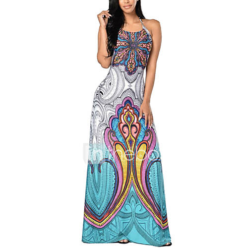 dames-uitgaan-strand-boho-street-chic-schede-jurk-print-halter-maxi-mouwloos-polyester-zomer-hoge-taille-micro-elastisch-medium
