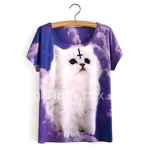 eenvoudig-schattig-lente-zomer-t-shirt-casual-dagelijks-print-ronde-hals-korte-mouw-paars-katoen-ondoorzichtig