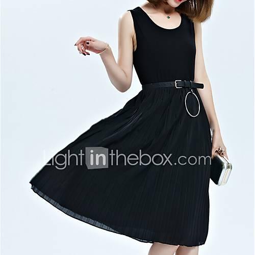 dames-uitgaan-street-chic-wijd-uitlopend-jurk-effen-ronde-hals-midi-mouwloos-katoen-acryl-polyester-zomer-medium-taille-micro-elastisch