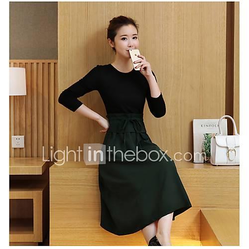 dames-uitgaan-casual-dagelijks-eenvoudig-a-lijn-jurk-effen-ronde-hals-tot-de-knie-driekwart-mouw-polyester-herfst-winter-medium-taille