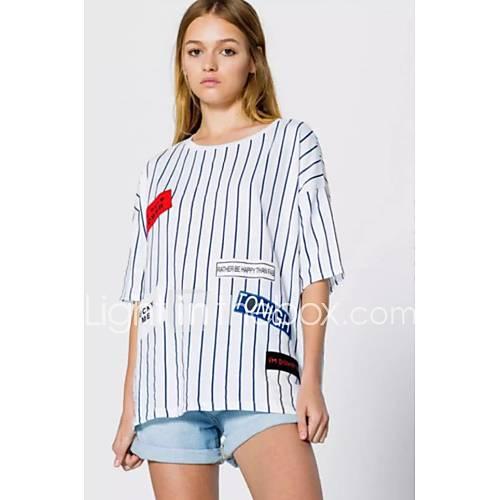 dames-sexy-eenvoudig-street-chic-lente-herfst-t-shirt-uitgaan-casual-dagelijks-gestreept-ronde-hals-halflange-mouw-wit-katoen-medium