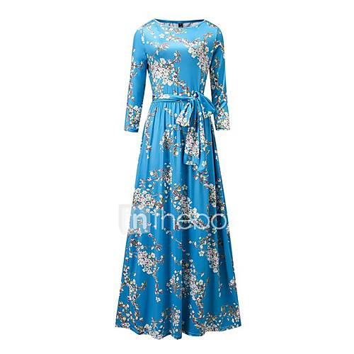 dames-uitgaan-casual-dagelijks-strand-vintage-eenvoudig-boho-wijd-uitlopend-jurk-bloemen-ronde-hals-maxi-lange-mouw-blauw-polyester-lente