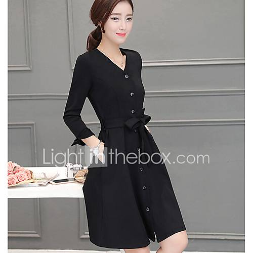 dames-uitgaan-casual-dagelijks-vintage-eenvoudig-a-lijn-jurk-effen-v-hals-maxi-driekwart-mouw-polyester-zomer-herfst-medium-taille
