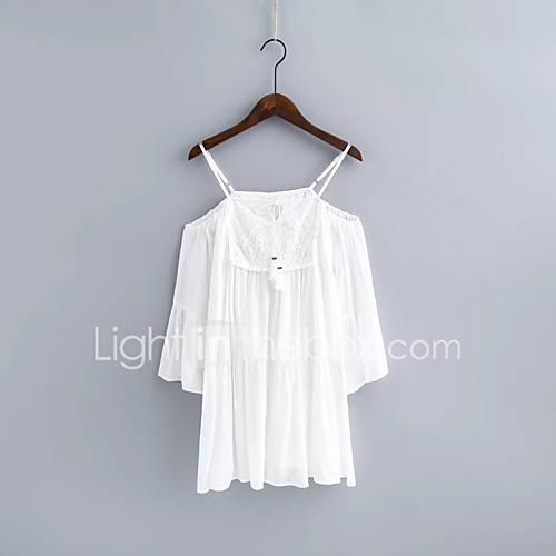 dames-uitgaan-casual-dagelijks-eenvoudig-street-chic-ruimvallend-wijd-uitlopend-overhemd-jurk-effen-bandje-maxi-midi-mouwloos-wit-zijde