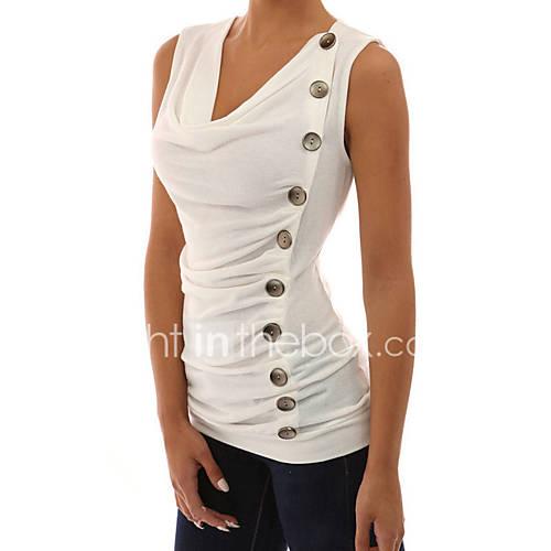 dames-sexy-eenvoudig-street-chic-lente-zomer-t-shirt-casual-dagelijks-vakantie-uitgaan-effen-v-hals-mouwloos-wit-zwart-grijs-polyester