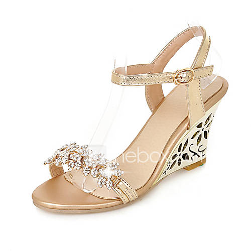 Women 39 s sandals spring summer fall club shoes pu wedding for Gold dress shoes for wedding