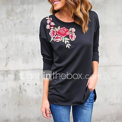 dames-vintage-street-chic-lente-herfst-t-shirt-uitgaan-casual-dagelijks-bloemen-ronde-hals-lange-mouw-zwart-polyester-medium