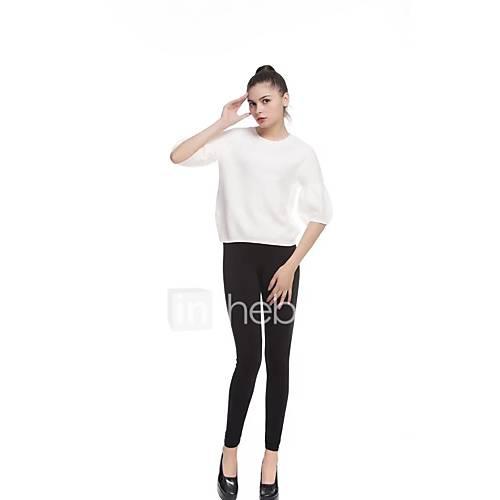 dames-uitgaan-casual-dagelijks-eenvoudig-street-chic-normaal-pullover-effen-ronde-hals-lange-mouw-wol-lente-medium-micro-elastisch