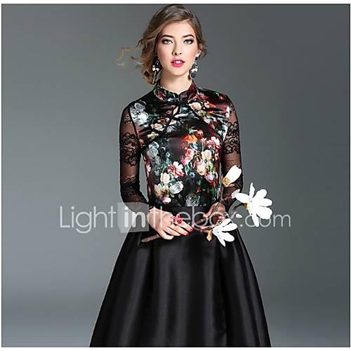 dames-chinoiserie-overhemd-uitgaan-casual-dagelijks-print-opstaand-lange-mouw-wit-zwart-zijde