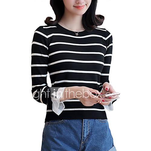 dames-uitgaan-casual-dagelijks-eenvoudig-street-chic-normaal-pullover-gestreept-wit-zwart-ronde-hals-driekwart-mouw-katoen-polyester-lente