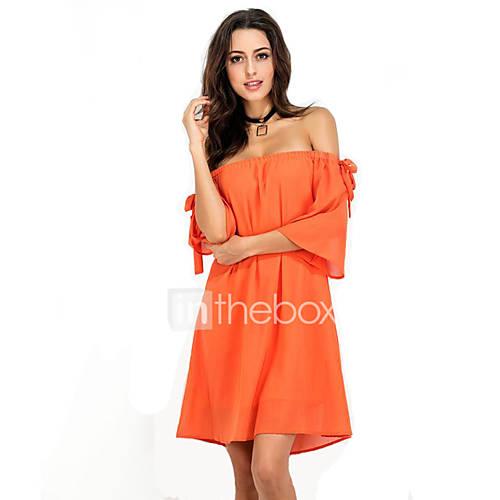 dames-uitgaan-casual-dagelijks-strand-sexy-eenvoudig-street-chic-a-lijn-ruimvallend-jurk-effen-boothals-boven-de-knie-korte-mouw-oranje