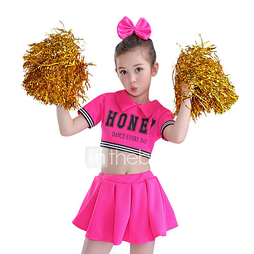 Cheerleader Costumes Outfits Children's Performance Cotton Splicing Short Sleeve High Top Skirt