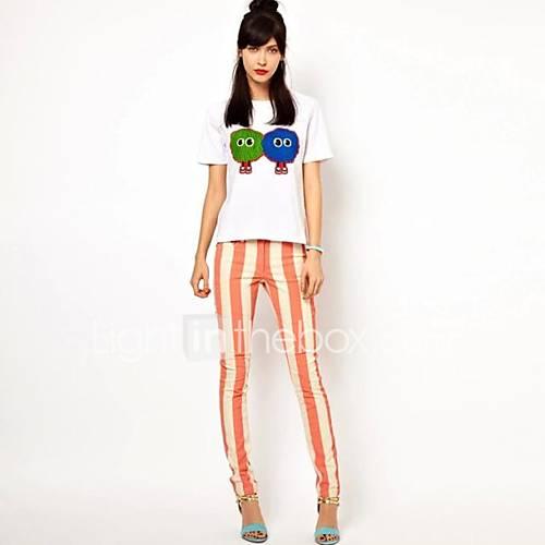 dames-eenvoudig-street-chic-zomer-herfst-t-shirt-uitgaan-casual-dagelijks-effen-dierenprint-ronde-hals-mouwloos-wit-zijde-katoen-medium