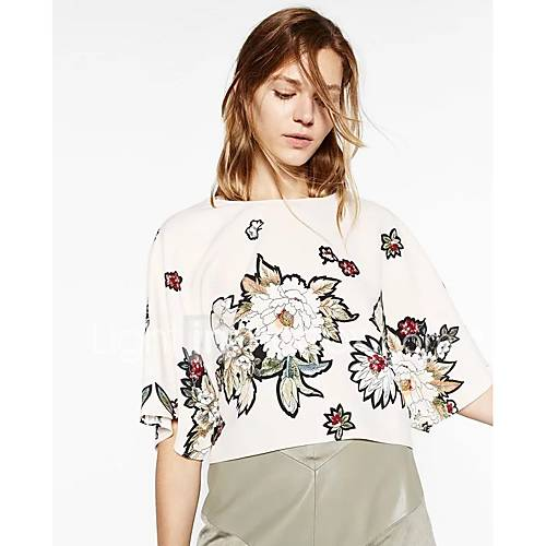dames-sexy-eenvoudig-street-chic-lente-herfst-t-shirt-uitgaan-casual-dagelijks-effen-bloemen-geborduurd-ronde-hals-halflange-mouw-wit
