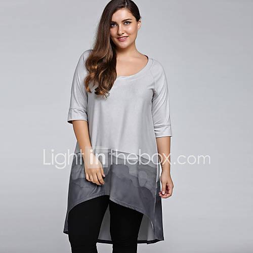 dames-vintage-eenvoudig-alle-seizoenen-t-shirt-uitgaan-casual-dagelijks-kleurenblok-u-hals-halflange-mouw-grijs-katoen-nylon-medium