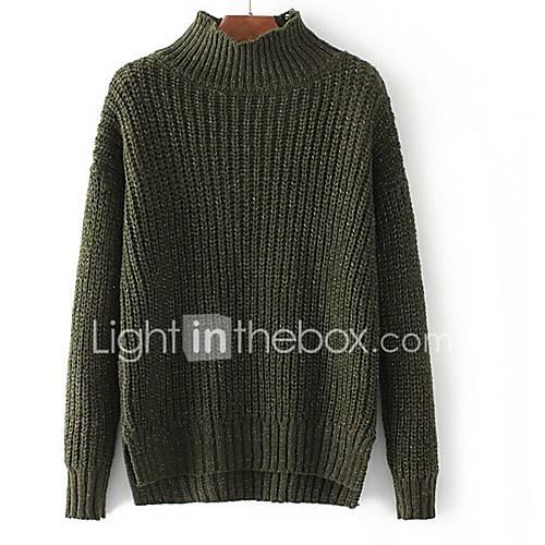 dames-casual-dagelijks-normaal-pullover-effen-coltrui-lange-mouw-katoen-polyester-lente-herfst-medium-micro-elastisch