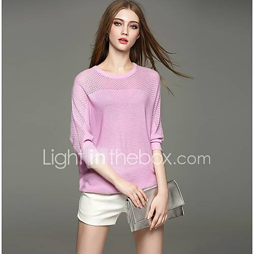 dames-casual-dagelijks-eenvoudig-normaal-pullover-effen-ronde-hals-driekwart-mouw-rayon-polyester-herfst-medium-micro-elastisch