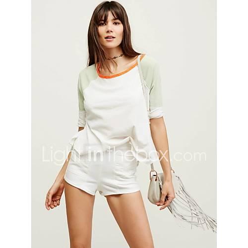 dames-sexy-eenvoudig-street-chic-lente-herfst-t-shirt-uitgaan-casual-dagelijks-kleurenblok-ronde-hals-driekwart-mouw-wit-katoen-medium