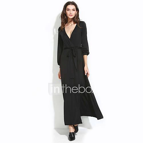 vrouwen-sexy-wijd-uitlopend-effen-jurk-maxi-diepe-v-hals-polyester-spandex