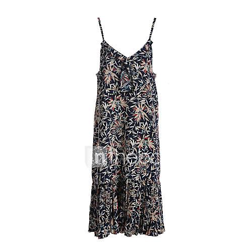 dames-casual-dagelijks-eenvoudig-schede-jurk-print-ronde-hals-midi-mouwloos-katoen-lente-zomer-medium-taille-inelastisch-dun