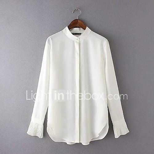 eenvoudig-street-chic-zomer-herfst-blouse-uitgaan-casual-dagelijks-effen-kleurenblok-v-hals-lange-mouw-wit-zijde-katoen-medium