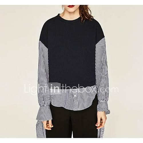 dames-sexy-eenvoudig-street-chic-lente-herfst-t-shirt-uitgaan-casual-dagelijks-kleurenblok-ronde-hals-lange-mouw-zwart-zijde-katoen-medium