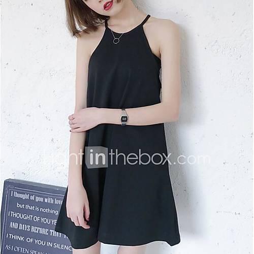 dames-casual-dagelijks-eenvoudig-ruimvallend-jurk-effen-halter-boven-de-knie-mouwloos-zwart-nylon-lente-zomer-medium-taille-inelastisch