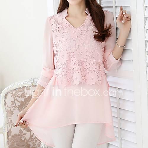 dames-eenvoudig-schattig-blouse-uitgaan-casual-dagelijks-werk-effen-geborduurd-v-hals-lange-mouw-roze-wit-polyester