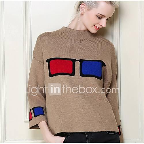 dames-casual-dagelijks-eenvoudig-kort-pullover-dierenprint-ronde-hals-lange-mouw-nylon-lente-herfst-medium-micro-elastisch