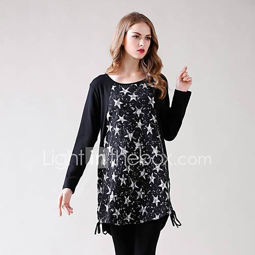 dames-casual-dagelijks-eenvoudig-t-shirt-jurk-geometrisch-ronde-hals-boven-de-knie-lange-mouw-polyester-lente-lage-taille-micro-elastisch