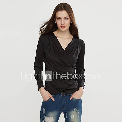 Vrouwen Eenvoudig / Street chic Lente / Herfst / Winter T-shirt,Nette schoenen Effen Diagonale hals Lange mouw Medium